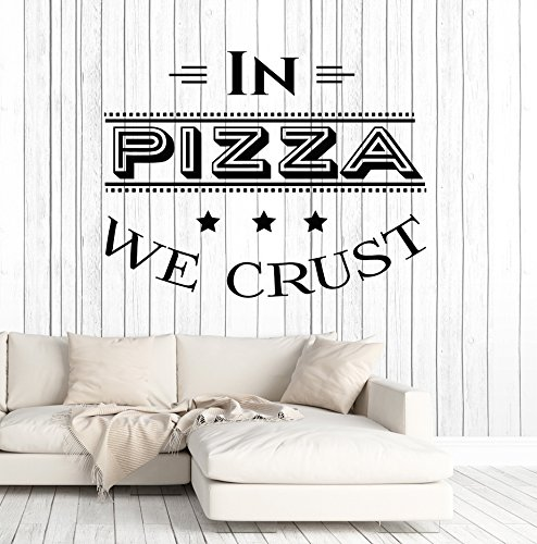 Vinyl Wall Decal Pizza Quote Pizzeria Italian Restaurant Kitchen Stickers Large Decor (ig4905) Black -