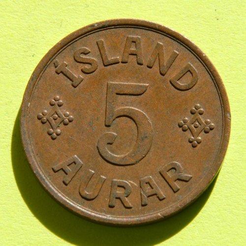 ICELAND 5 AURAR coin 1942 - Christian X #1