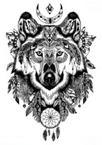 Set of 2 Waterproof Temporary Fake Tattoo Stickers Black Grey Wolf Dream Catcher Big Vintage Design