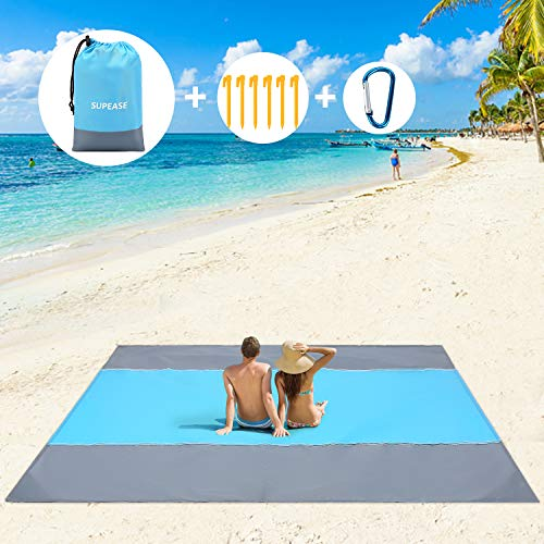 SUPEASE Sand Free Beach Blanket Mat, 10'×9' Extra Large Waterproof Sand Proof Beach Mat Suitable for 7 Adults,Outdoor Picnic Blanket Mat for Camping, Travelling, Lightweight Quick Drying Easy to Clean