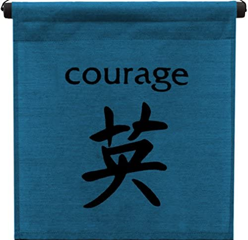 G6 Collection Inspirational Wall Decor Courage Banner Large, Inspiring Quote Wall Hanging Scroll, Affirmation Motivational Uplifting Message Art Decoration, Thought Saying Tapestry Courage Dark Blue