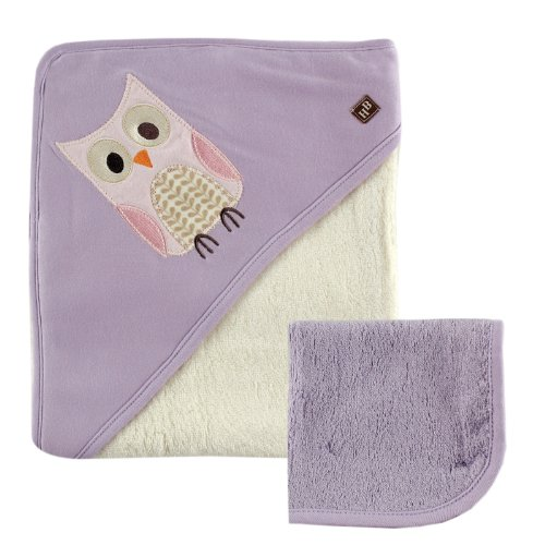 Hudson Baby Bamboo Hooded Bath Towel and Washcloth, Purple O