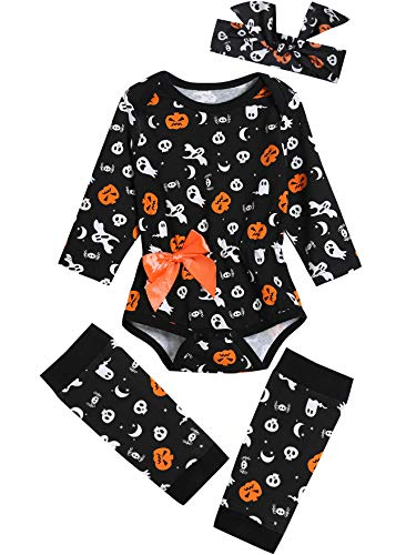 Baby Girls' 3PCS Outfits Set Halloween Pumpkin Costume Long Sleeve Bodysuit (0-3 Months)