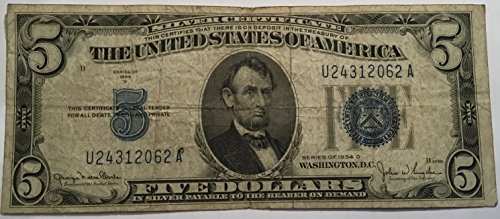 1934 D Blue Seal Five Dollar Silver certificate US Note - 5 Silver Certificate