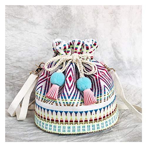 Boho Style Bucket Shoulder Bag Casual Female Bohemian Gypsy Drawstring Purse Women Cute Pastel Pom Fringe