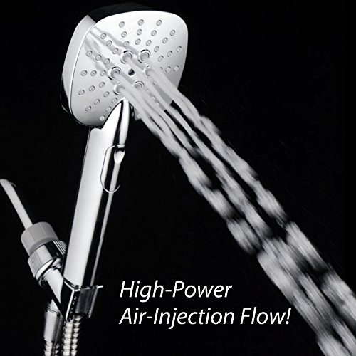 AirJet-350 High Pressure Luxury Multi-Function Hand Shower with High-Velocity Flow Accelerator(TM) Hydro-Engine for More Power with Less Water! Latest Square Oval Design and Push-button Flow Control by Turbo Spa (Image #3)
