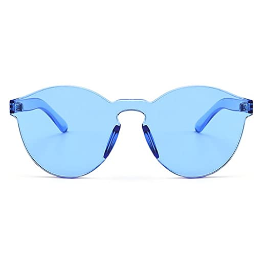 ca2b79fac4e Armear Oversized One Piece Rimless Tinted Sunglasses Clear Colored Lenses  (Blue