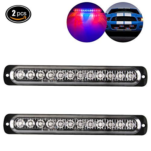 Emergency Strobe Lights Hazard Warning lights 12 LED Red&Blue Surface Mount for Construction Vehicle Car Truck 12-24V Waterproof 12W Recovery Breakdown Beacon Light Bar-2 Pack ()
