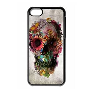 wugdiy Brand New Phone Case for iPhone 5C with diy Beautiful flower skulls
