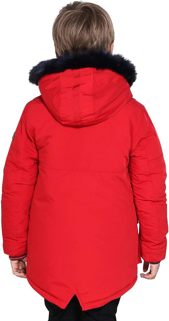 SOLOCOTE Boy Fur Hood Upspec Waterproof Jacket Casual Padded Parka Winter Coat