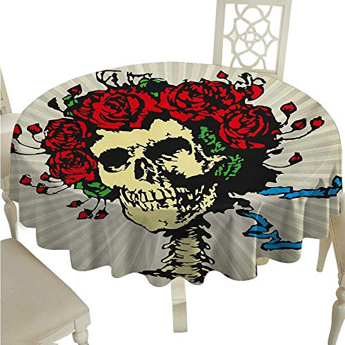 Rose Elegant Waterproof Spillproof Polyester Fabric Table Cover Tattoo Art Style Graphic Skull in Red Flowers Crown Halloween Composition Print Indoor Outdoor Camping Picnic D54