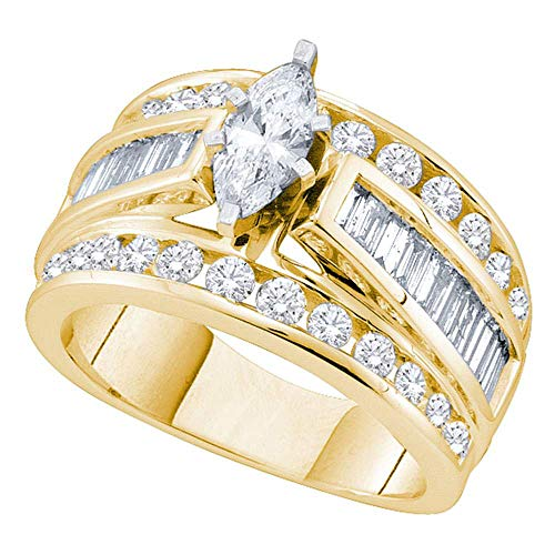 Jewel Tie - Size 5 - Solid 14k Yellow Gold Marquise Diamond Solitaire Bridal Engagement Ring Wedding Band Set 2.00 Cttw. (Certified) ()