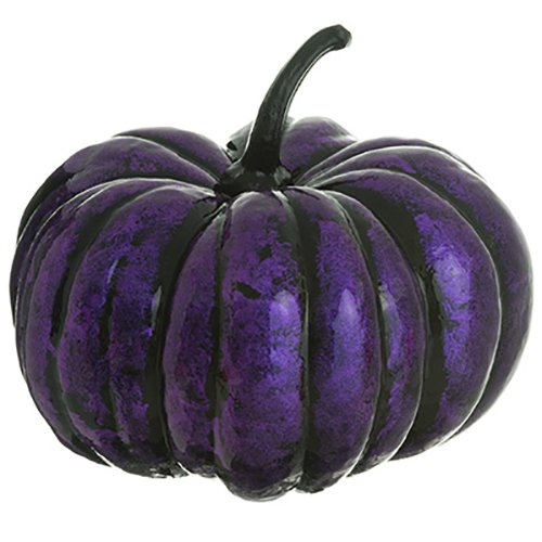 8''Hx10''W Artificial Pumpkin -Purple/Black (pack of 4) by SilksAreForever