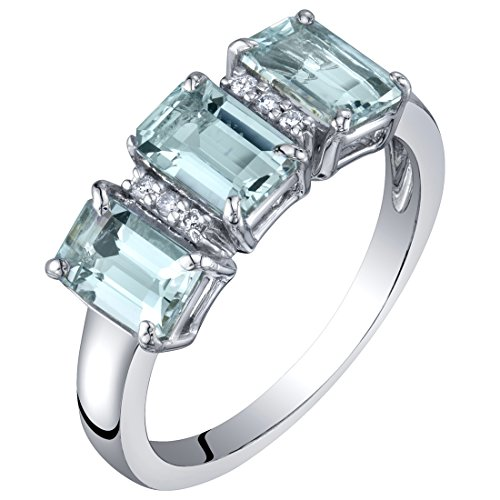 14K White Gold Genuine Aquamarine and Diamond Three Stone Ring 1.50 Carats Size 8
