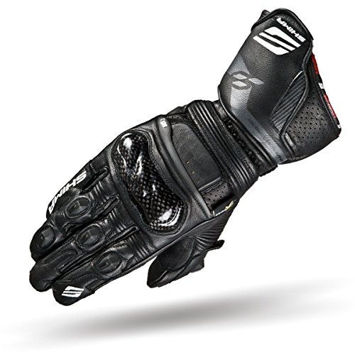 SHIMA RS-1 SPORT Motorcycle Gloves, KNOX Vented Summer Stylish Durable Protective Leather Sport Motorbike Gloves (S-XXL) (L, Black)
