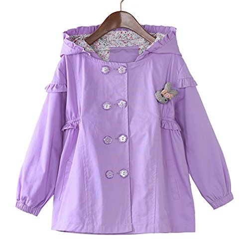 LE CHARME Girls Spring Fall Flower Lined Trench Coat Wind Hoodies Long Sleeve Coat Outwear Button Jacket for Ages 3-11 Years Old Girls Purple
