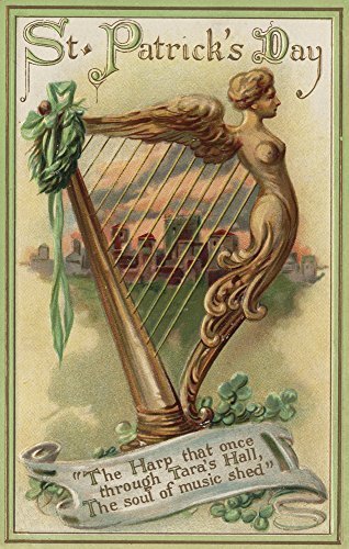 St. Patrick's Day Greeting - The Harp of Hara Hall Scene