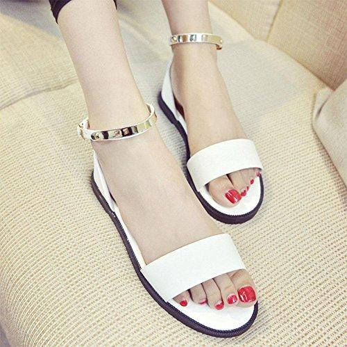 Sandalen Weiblich Wort Schnalle mit Offene Wild Studenten Schuhe weiß