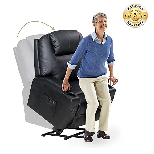 - Power Lift Recliner Chair with Luxurious Bonded Leather, Lounge Living Room Sofa Heavy Duty Steel for Elderly, Black