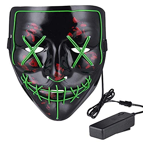 Lumiere Halloween Scary LED Purge Mask for Festival, Party, (Green) -