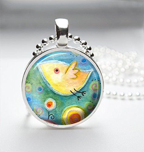 1inch Circle Glass Pendant Necklace - Watercolor Bird Design 004