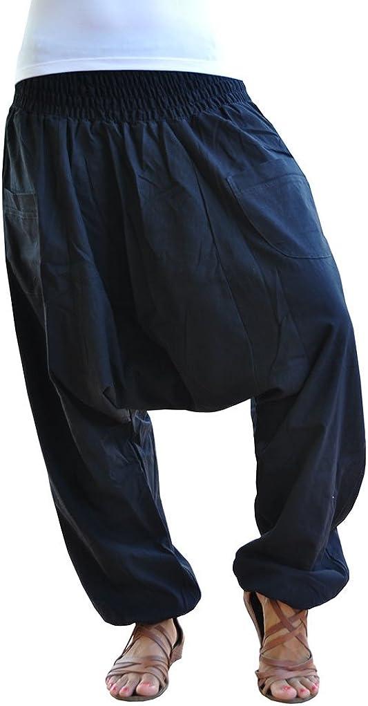 virblatt Pantalones cagados Color /único Talla /única con Entrepierna Profunda Unisex S Un/überlegt bl L Pantalones Harem para el Verano con Bolsillos con Cremallera