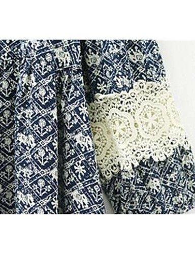 PU&PU Robe Aux femmes Ample Simple,Imprimé Col Arrondi Au dessus du genou Polyester , black-m , black-m