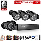 ELECCTV 4 Channel 1080P 500GB HDD AHD Home Security Cameras System W/ 4x HD 1.3MP waterproof Night vision Indoor/Outdoor CCTV surveillance Camera, Quick Remote Access Setup Free App