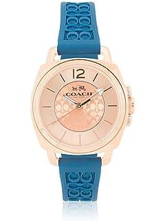 Coach Womens 14502095 Mini Boyfriend Signature Blue Strap Rose Gold Tone Watch