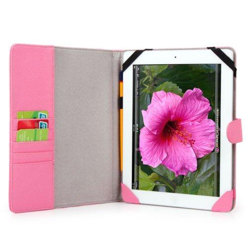 Pink Melrose Leather Case - Kroo iPad 4G LTE Leather Case - Baby Pink MELROSE