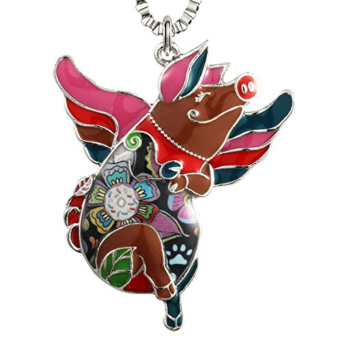 Luckeyui Unique Flying Pig Necklaces & Pendants for Girls Women Colorful Animal Charm Keychain ()