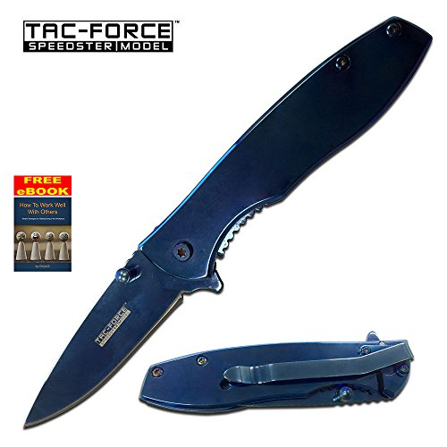 Tac-Force Blue Titanium Coated Spring Assist Assisted Knife Knives #573BL + free eBook by OnlyUS (Knife Butterfly Coated)