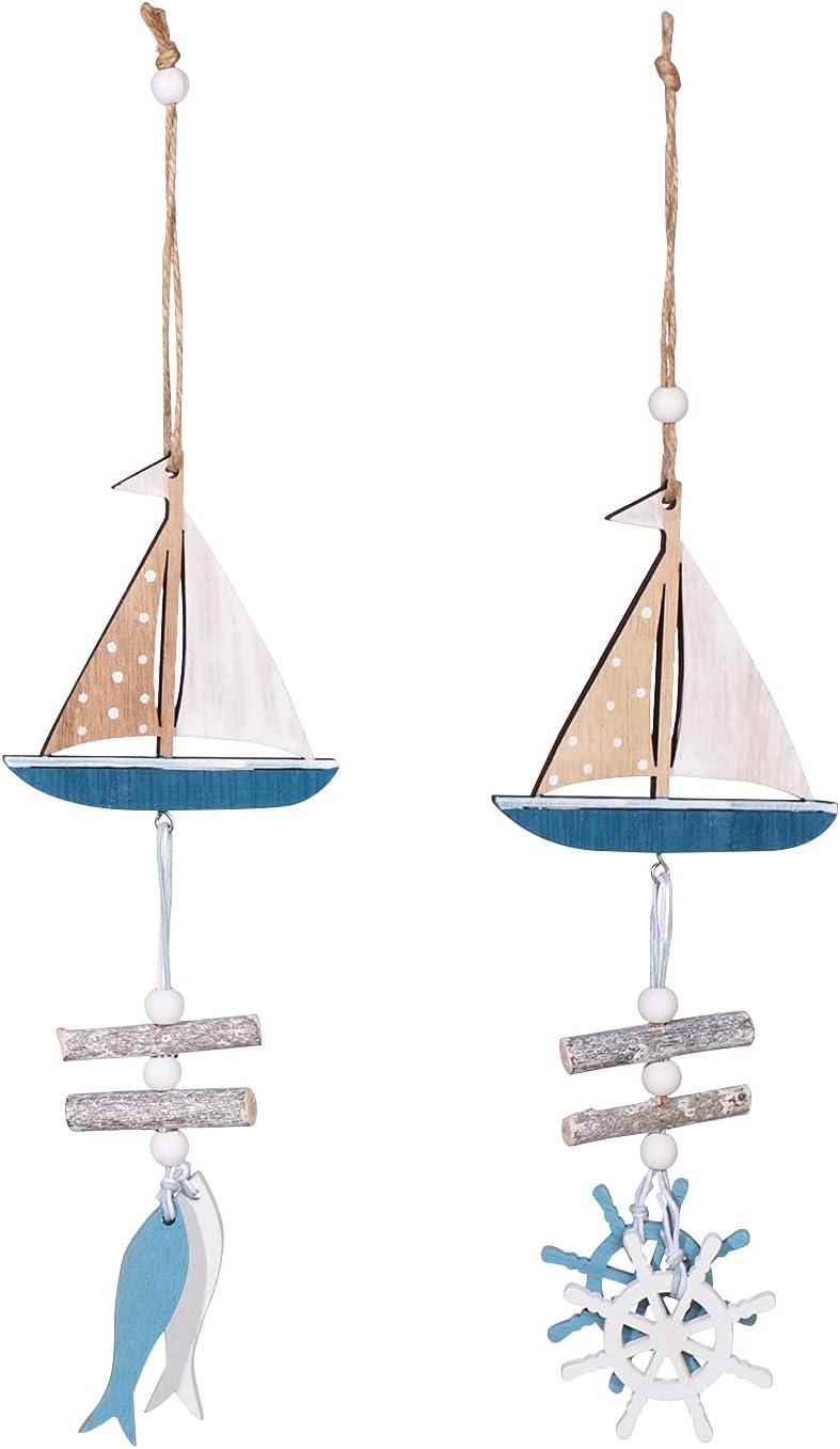 2PCS Sailboat Model Pendant Ornament ,Wooden Mini Sailing Boat Decoration Set,Home Decor Pendants Accessories for Doors,Walls,Bedrooms,Restaurants,Windows