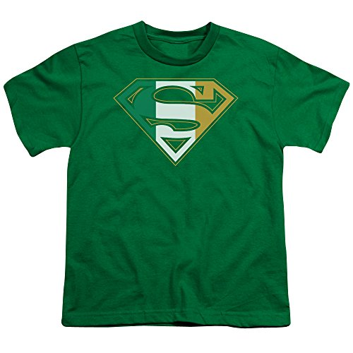 (Superman Iconic DC Comics Character Irish Shield S Symbol Big Boys Youth T-Shirt Green)