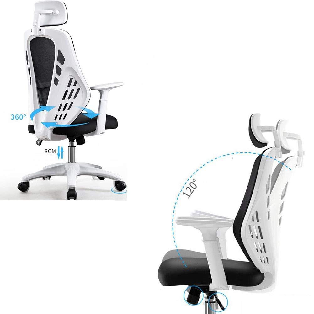 DALL kontorsstol hög rygg 360° vridbar lutningsfunktion dator spelstol justerbar höjd konferensstol nackstöd montering (färg: svart) Svart