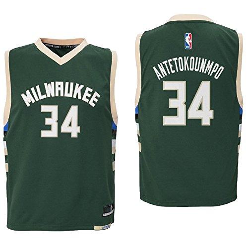 Giannis Antetokounmpo Milwaukee Bucks #34 Green Youth Road Replica Jersey X-Large 18/20