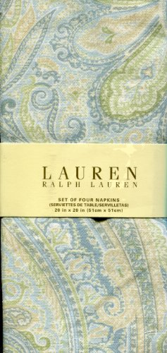 Ralph Lauren Fenton Paisley Aqua Napkins, Set of Four