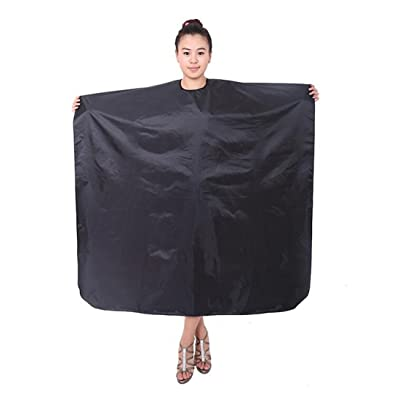 1Pcs Nylon Hair Salon Cape Professional Waterproof Salon Styling Capes Apron Cloth for Hair Cutting Coloring and Styling(Black)