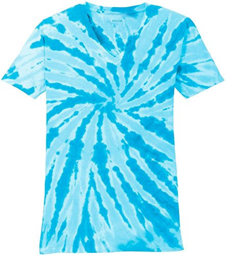 Koloa Surf Ladies Colorful Tie-Dye V-Neck T-Shirt-Turquoise-S
