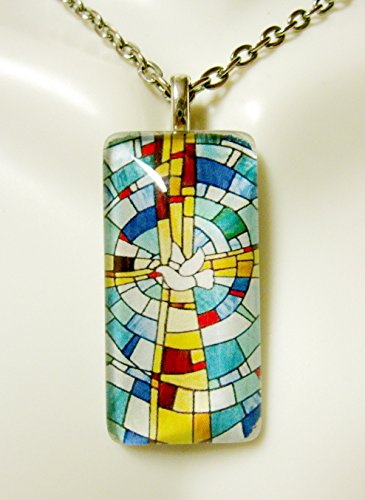 Cross and holy spirit stained glass window pendant - GP12-264