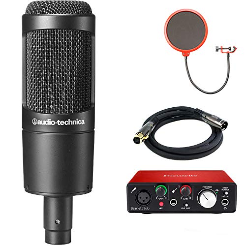 Audio-Technica Cardioid Condenser Microphone (AT2035) with Focusrite Scarlett Solo USB Audio Interface, Deco Gear Premier Series XLR 10' Male to Female Cable & Microphone Wind Screen (Ears Audio Toolkit Best Settings)