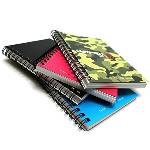 GymPad Mini Workout Journal - The Small Stylish Way To Track Your Workouts (4 PACK - Black, Pink, Blue & Camo) by GymPad