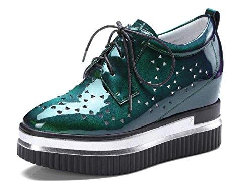 Plataforma de Charol de Las Mujeres Zapatos de Mujer con Cordones Zapatillas de Deporte Ocasionales Zapatillas de Deporte Interiores Altas Verde