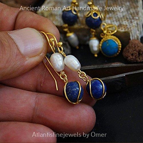 Lapis & Pearl Hook Earrings 24k Gold Over 925k Sterling Silver By Omer Handmade Turkish Jewelry