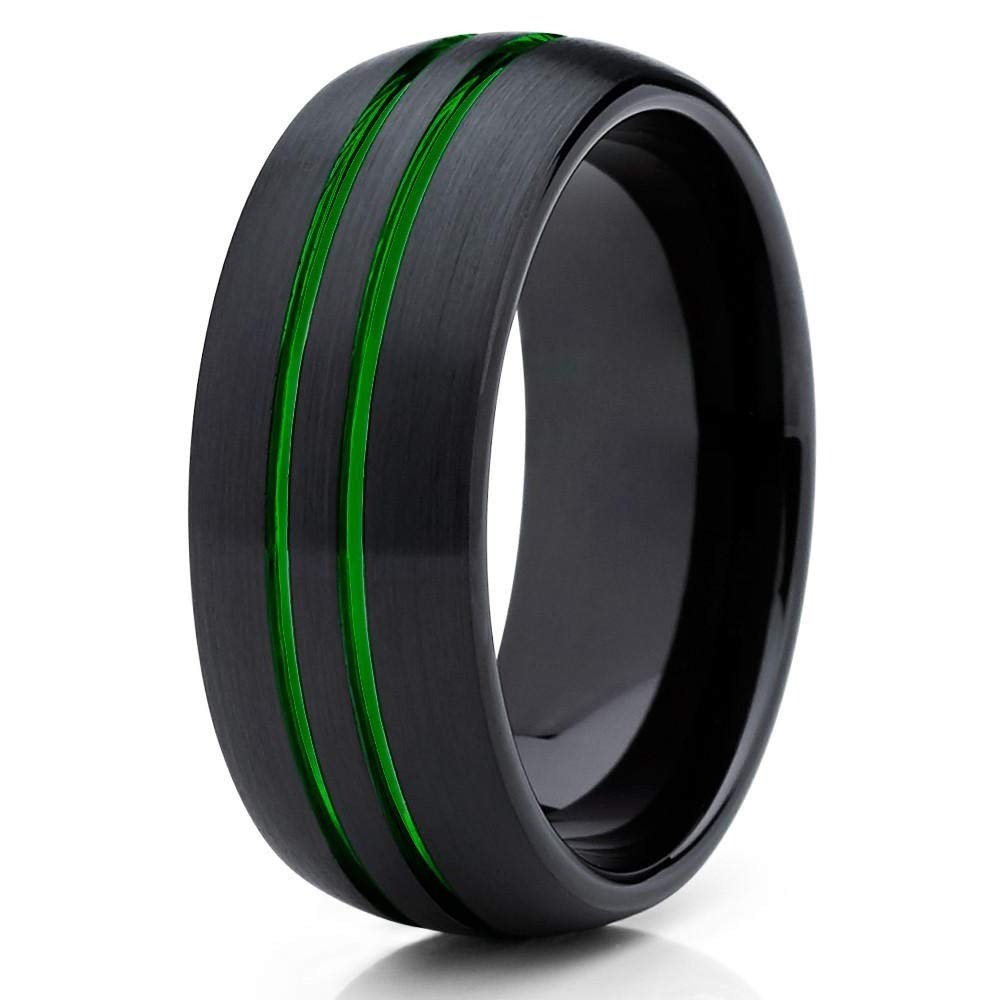 Silly Kings 8mm - Green Tungsten Wedding Band - Green Ring - Green Tungsten Ring (Tungsten, 13)