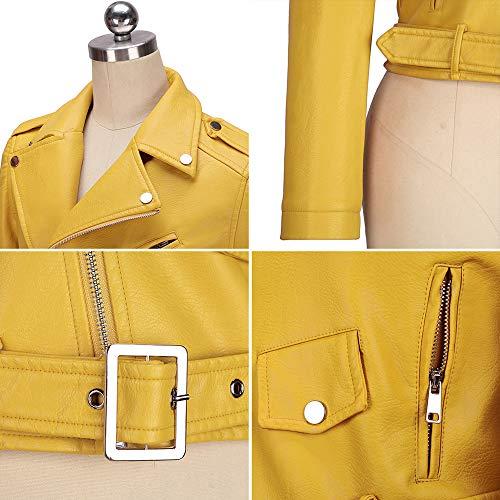Moda Coat Donna Giallo Lunga E Primavera Corto Jacket Blouse Sottile Di Autunno Tops Giovane Outerwear Cappotto Giacca Pelle Giacche fashion Casual Simple Manica wqZzAA