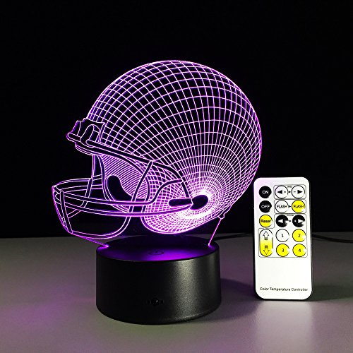Price comparison product image Circle Circle Colorful Gradients 3D Optical Illusion Lamp 7 Colors Change Touch Button and 15 Keys Remote Control Interesting Football Cap LED Night light