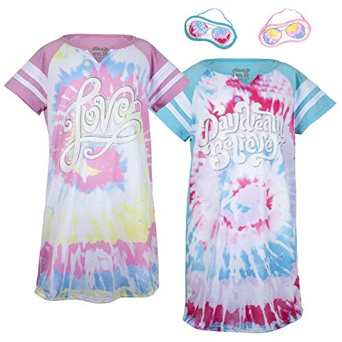 - Sleep On It Girls 4 Piece Summer Pajama Nightgown with Eye Mask Set (2 Full Sets)