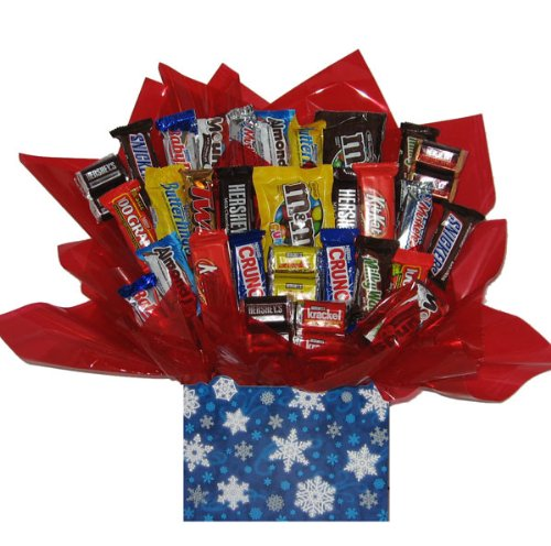 Chocolate Candy bouquet in a Christmas Holiday Winter Wonderland gift (Sweet Assortment Candy Bouquet)