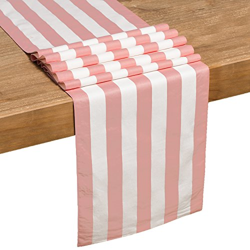 Ling's moment 12 x 72 inches Light Pink White Striped Table Runner Baby Shower First Birthday Sweet 16 Party Decorations